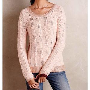 Soft Anthro Moth Blush Pink & Rose Gold Sweater